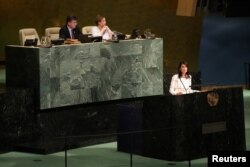U.S. Ambassador to the United Nations Nikki Haley addresses a United Nations General Assembly meeting at U.N. headquarters in New York, June 13, 2018.