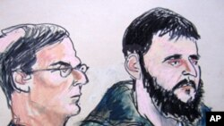 In this Jan. 9, 2010 courtroom file sketch, defendant Adis Medunjanin, right, accused of becoming an al-Qaida operative, sits with his defense attorney Robert Gottlieb at the federal courthouse in New York.