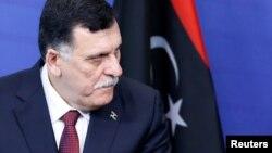 Le Premier ministre Fayez al-Sarraj rencontre le chef de la diplomatie européenne à Bruxelles, Belgique, le 2 février 2017.