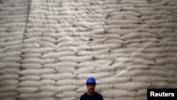 A worker poses for a photo in front of sacks filled with sugar at Emiliano Zapata sugar mill in Zacatepec de Hidalgo, in Morelos state, Mexico, March 7, 2015.