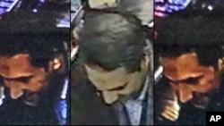 Une combinaison de trois images montre Najim Laachraoui identifié sur un faux passeport comme Soufiane Kayal par la police fédérale belge, lors d'un transfert d'argent par Western Union dans la région bruxelloise de Belgique, 17 novembre 2015. (Police fédérale belge/AP)