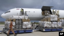 Tons of relief from the United Nations High Commissioner for Refugees (UNHCR) is offloaded after landing at Mogadishu airport, Somalia (File Photo)