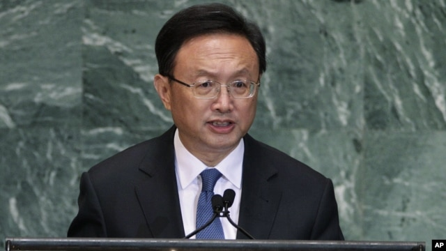 Chinese Foreign Minister Yang Jiechi addresses the 67th session of the United Nations General Assembly, September 27, 2012.
