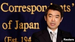 일본의 하시모코 도루 오사카 시장이 27일 도쿄에서 외신 기자회견을 가졌다.