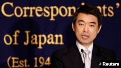 Osaka Mayor Toru Hashimoto speaks during a news conference at the Foreign Correspondents' Club of Japan in Tokyo, May 27, 2013.