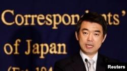 Thị trưởng thành phố Osaka Toru Hashimoto phát biểu tại Câu lạc bộ báo chí nước ngoài ở Tokyo, ngày 27/5/2013.