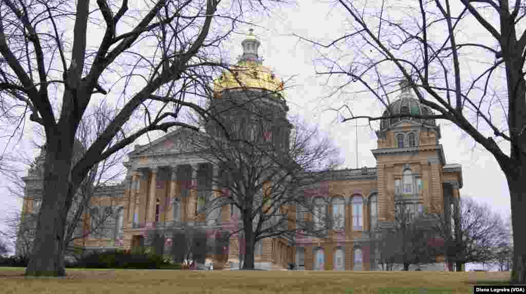 The Iowa State Capitol in Des Moines, Iowa. Iowa's first-in-the-nation caucuses kick off the U.S. primary election season Monday.