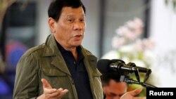 Tổng thống Rodrigo Duterte nói chuyện trong chuyến viếng thăm thành phố Baguio, Philippines, ngày 11/3/2017.