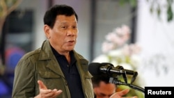 FILE - Philippine President Rodrigo Duterte speaks during a visit in Baguio city, Philippines.