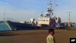 인도 타밀나두의 투티코린항에 억류 중인 미국 국적 선박 '시맨 가드 오하이오'. 지난 13일 촬영한 사진이다.