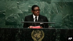 FILE - Teodoro Nguema Obiang Mangue, vice-president of Equatorial Guinea, speaks during the 70th session of the United Nations General Assembly at U.N. headquarters, Sept. 30, 2015.