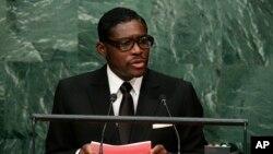 Teodorin Obiang, vice-président et fils du président de Guinée équatoriale prononce un discours lors de la 70 assemblée générale de Nations unies à New York, aux Etats-Unis, 30 septembre 2015.
