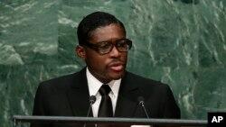 Teodorin Obiang, fils du président de la Guinée équatoriale Teodoro Obiang Nguema et vice-président du pays, prononce un discours lors de la 70e session l'Assemblée générale des Nations unies à New York, 30 septembre 2015.