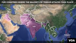 Binafsharang mamlakatlar eng ko'p terror hujumi qilingan davlatlar