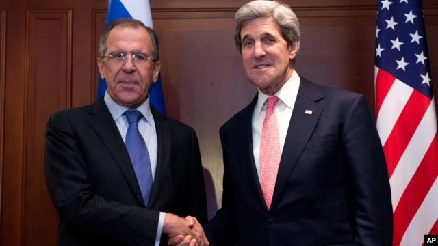 U.S. Secretary of State John Kerry, right, meets with Russian Foreign Minister Sergey Lavrov in Berlin, Feb. 26, 2013.