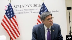 U.S. Treasury Secretary Jacob Lew talks to reporters during a press briefing in Sendai, Japan, May 20, 2016. Top finance officials of the Group of Seven industrialized economies kicked off their two-day meeting over discussions on revitalizing the global