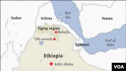 Ramani ya Ethiopia ikionyesha eneo la Tigray na Sudan