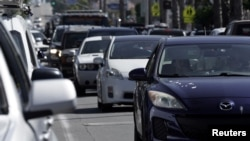 Heavy traffic is seen in the Ocean Beach neighborhood of San Diego, California, ahead of the Fourth of July holiday July 3, 2020.