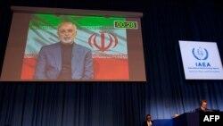 이란의 모하마드 자바드 자리프 외무장관이 21일 화상으로 오스트리아 빈에서 진행되는 국제원자력기구(IAEA) 총회에서 발언하고 있다.