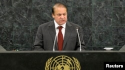 FILE - Pakistani Prime Minister Muhammad Nawaz Sharif addresses the 68th United Nations General Assembly at U.N. headquarters in New York, Sept. 26, 2013.