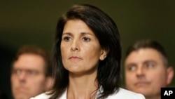 美國駐聯合國代表黑利3月27日在聯合國出席一個新聞發佈會上。