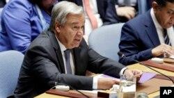 Antonio Guterres devant le Conseil de sécurité de l'ONU, New York, le 29 août 2018.