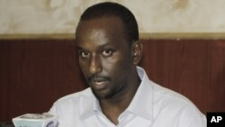 Zakariya Ismail Hersi, a former senior al-Shabab commander, speaks during a press conference at the presidential palace in Mogadishu, Somalia, Jan. 27, 2015.