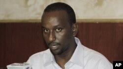 FILE - Zakariya Ismail Hersi, a former senior Al Shabab commander, speaks during a press conference at the presidential palace in Mogadishu, Somalia, Jan. 27, 2015.