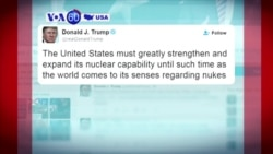 "VOA60 America - President-elect Donald Trump tweets that the US must ""greatly strengthen and expand its nuclear capability"""