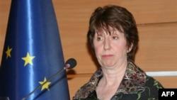 Ủy viên đối ngoại Liên hiệp Âu châu bà Catherine Ashton nói chuyện với giới truyền thông sau các cuộc đàm phán kéo dài hai ngày giữa Iran với các cường quốc thế giới về chương trình hạt nhân của Tehran tại Thổ Nhĩ Kỳ, ngày 22 tháng 1, 2011