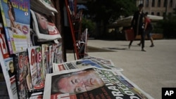 Newspapers on a stand in Sarajevo,Bosnia, May 27, 2011