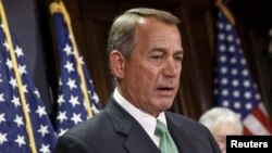 Speaker of the House John Boehner, R-Ohio, following a GOP strategy session on Capitol Hill, Feb. 3, 2015.