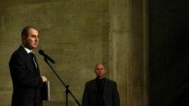 Former Bulgarian Interior Minister and vice-prime minister Tsvetan Tsvetanov speaks to the media, Sofia, Feb. 20, 2013.