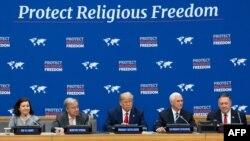 도널드 트럼프 미국 대통령이 23일 뉴욕 유엔본부에서 종교 자유 행사를 주최했다. 마이크 펜스 부통령과 마이크 폼페오 국무장관도 참석했다.