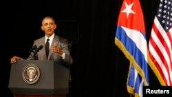 Tổng thống Hoa Kỳ Barack Obama phát biểu với nhân dân Cuba tại Gran Teatro ở Havana, ngày 22/3/2016.