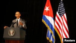 U.S. President Barack Obama makes a speech to the Cuban people at the Gran Teatro in Havana, March 22, 2016.