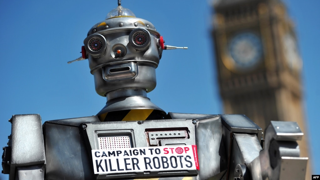 FILE - The mock killer robot was displayed in London in April 2013 during the launching of the Campaign to Stop Killer Robots, which calls for the ban of lethal robot weapons that would be able to select and attack targets without any human intervention.
