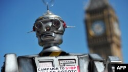 FILE - A mock killer robot was displayed in London in April 2013 during the launching of the Campaign to Stop Killer Robots, which calls for the ban of lethal robot weapons that would be able to select and attack targets without any human intervention.