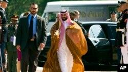 Ministar odbrane, Saudijske Arabije, Mohamad bin Salman prilikom dolaska na samit Globalne koalicije protiv ID u Vašingtonu.