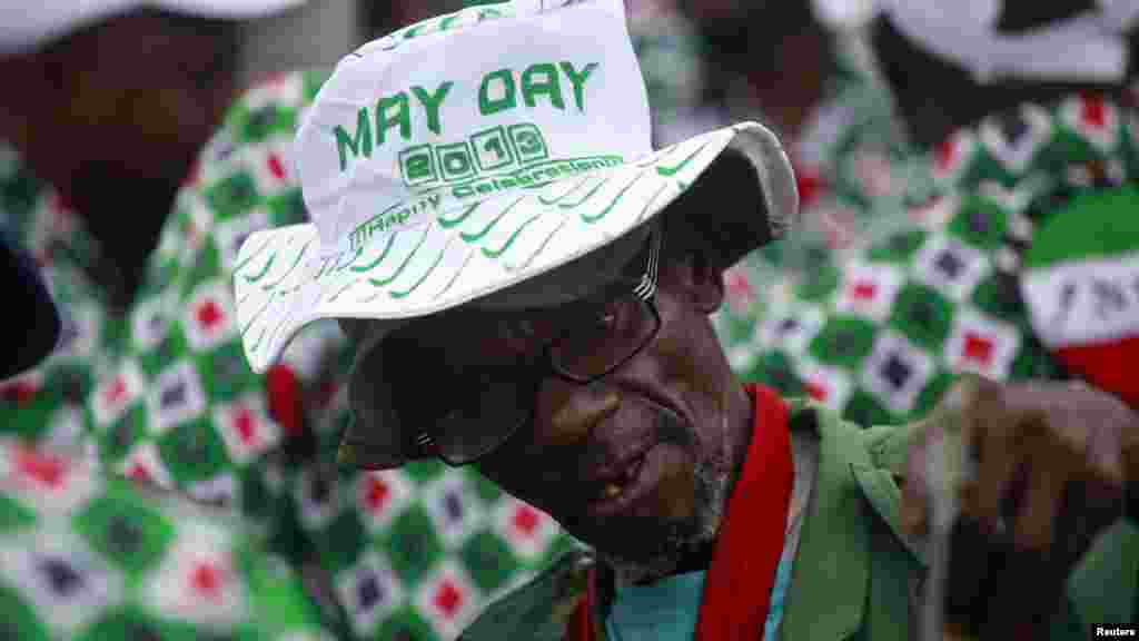 A Nigerian Army veteran attends a parade marking Workers' Day in Nigeria's commercial capital of Lagos May 1, 2013.