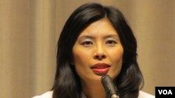 台湾行政院发言人 郑丽文(美国之音张永泰拍摄)