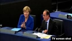 Nemačka kancelarka, Angela Merkel i francuski predsednik Fransoa Oland, Strazbur 7. oktobar 2015.