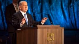 Israel's Prime Minister Benjamin Netanyahu speaks during the opening ceremony of Holocaust Memorial Day at the Yad Vashem Holocaust Memorial in Jerusalem April 27, 2014.