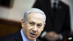 Israeli Prime Minister Benjamin Netanyahu attends the weekly cabinet meeting in Jerusalem, January 15, 2012.