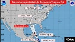 El pronóstico a largo plazo mostró que el meteoro podría alcanzar la costa estadounidense del Golfo de México convertido en huracán el domingo.