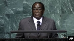 Robert Mugabe, President of Zimbabwe, addresses a summit on the Millennium Development Goals at United Nations headquarters on Tuesday, Sept. 21, 2010. (AP Photo/Richard Drew)
