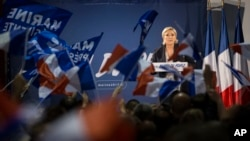 Far-right candidate for the presidential election Marine Le Pen speaks during a campaign meeting in Arcis-sur-Aube, near Troyes, France, April 11, 2017. Le Pen argues that Muslim immigration and economic globalization are destroying France's identity.