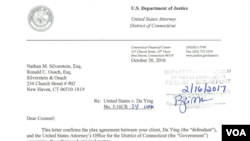 美國聯邦檢察官與英達(音)簽訂的認罪協議(法院文件截圖)