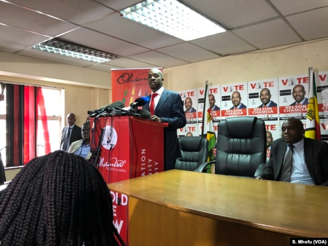 Nelson Chamisa the leader of the Movement for Democratic Change Alliance addressing reporters, July 4, 2018.