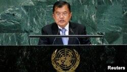 Wakil Presiden RI Jusuf Kalla berpidato dalam Sidang Umum PBB di New York hari Kamis (27/9).